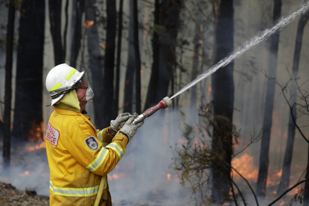 A firefighter manages a controlled burn near Tomerong, Australia, Wednesday, Jan. 8, 2020,  in an effort to contain a larger fire nearby. Around 2,300...