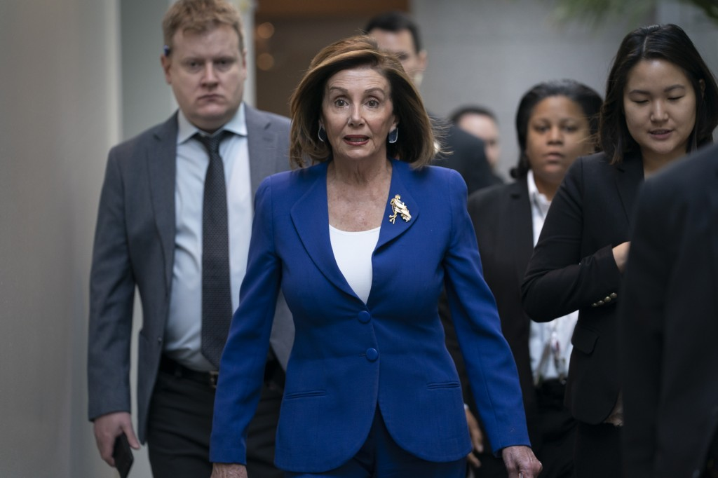 Speaker of the House Nancy Pelosi, D-Calif., arrives to meet with other House Democrats on the morning following Iranian attacks on bases in Iraq hous...