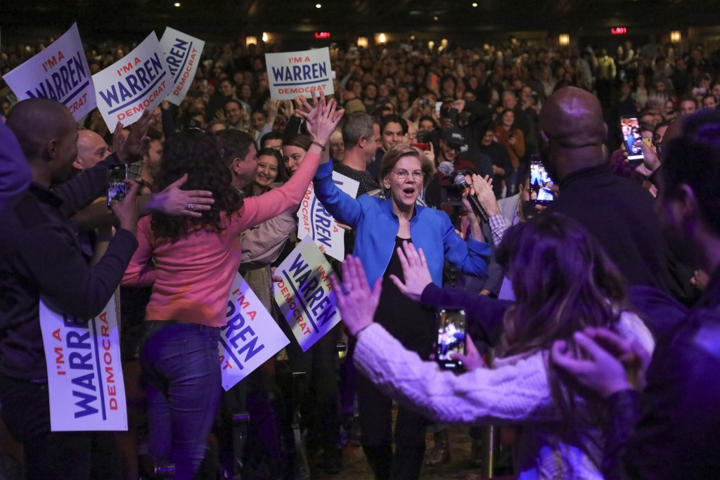 Democratic presidential candidate Sen. Elizabeth Warren, D-Mass., arrives at a campaign event, Tuesday Jan. 7, 2020, at Brooklyn's Kings Theatre in Ne...