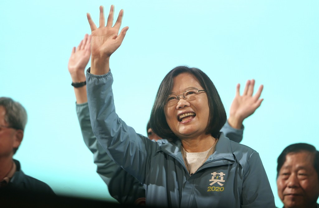 FILE - In this Jan. 5, 2020, file photo, Taiwan's 2020 presidential election candidate, Taiwan president Tsai Ing-wen of the Democratic Progressive Pa...