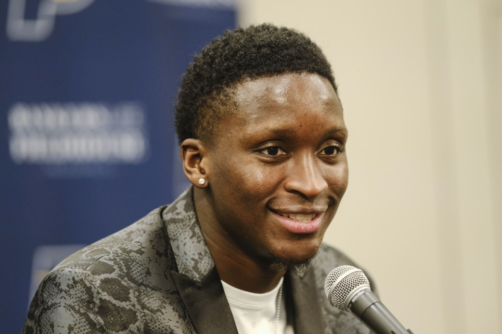 Indiana Pacers guard Victor Oladipo answers questions during a news conference before an NBA basketball game in Indianapolis, Wednesday, Jan. 8, 2020....