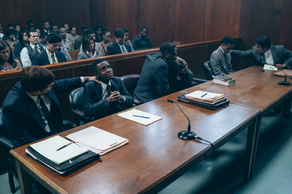 """This image released by Netflix shows a scene from """"When They See Us."""" The four-part Netflix series was nominated for a GLAAD Media Award for outstandi..."""