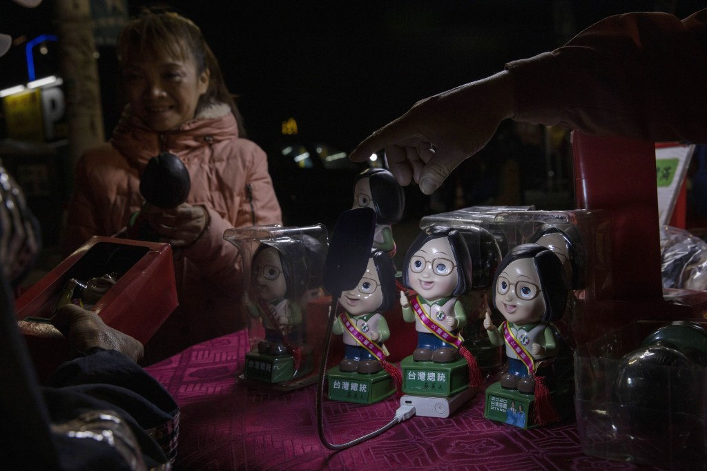 In this Wednesday, Jan. 8, 2020, photo, dolls depicting Tsai Ing-wen, Taiwan's President and the 2020 presidential election candidate for the Democrat...