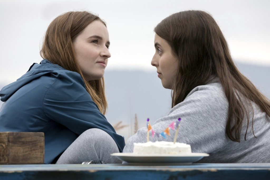 """This image released by Annapurna Pictures shows Kaitlyn Dever, left, and Beanie Feldstein in a scene from the film """"Booksmart."""" The film was nominated..."""
