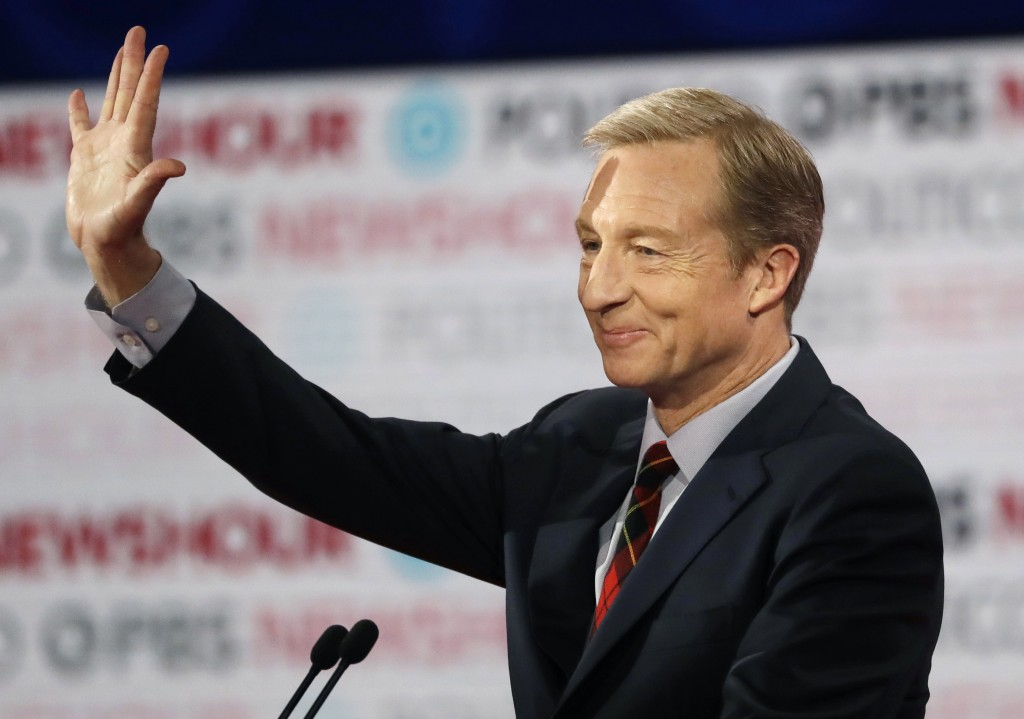 FILE - In this Dec. 19, 2019, file photo, Democratic presidential candidate businessman Tom Steyer waves before a Democratic presidential primary deba...