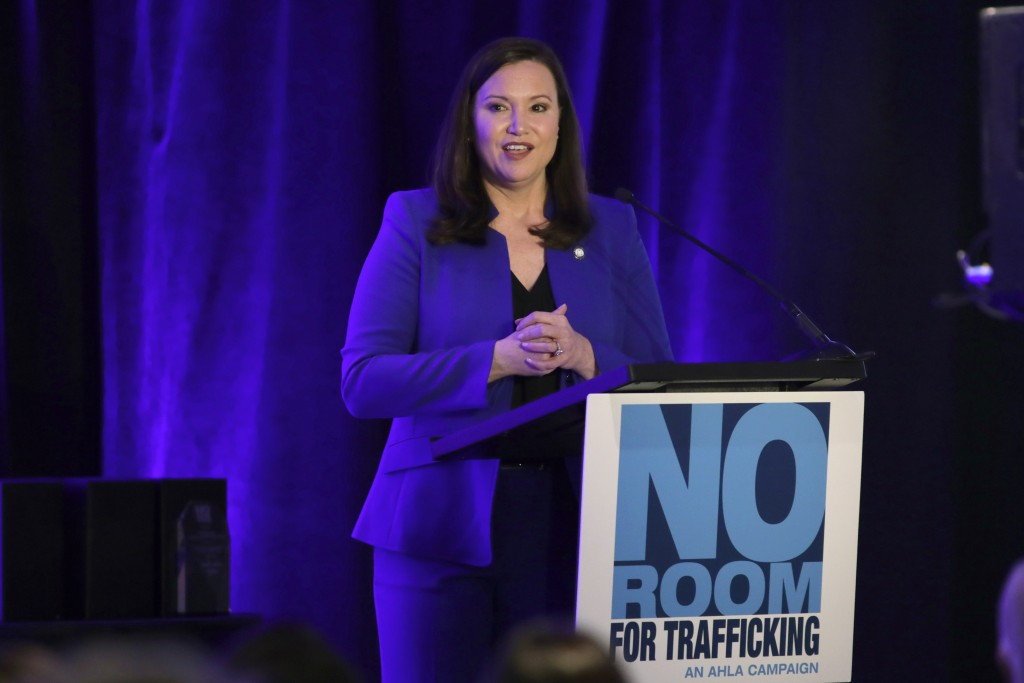 Florida Attorney General Ashley Moody speaks during a meeting between law enforcement officials and hotel groups to announce a campaign to prevent hum...