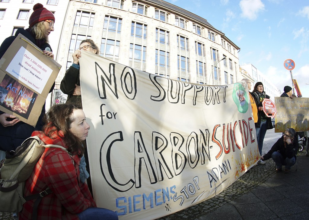 Activist of 'Extinction Rebellion' and 'Parents for Future Berlin' attend a protest rally against the climate policy of Australia's government in fron...