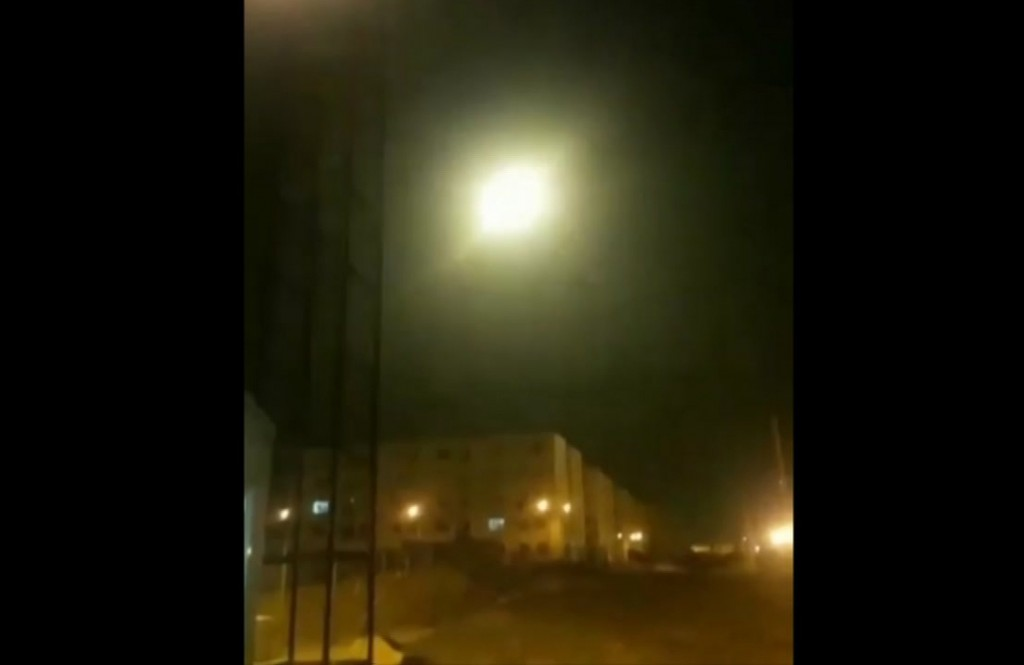This image taken from a video on Wednesday Jan. 8, 2020 and provided by Nariman Gharib shows an object said to be the Ukrainian jetliner flying in sky...