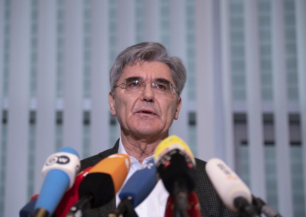 Joe Kaeser, CEO of Siemens, addresses the media during a statement in Berlin, Germany, Friday. Jan. 10, 2020. Kaeser met German representatives of the...