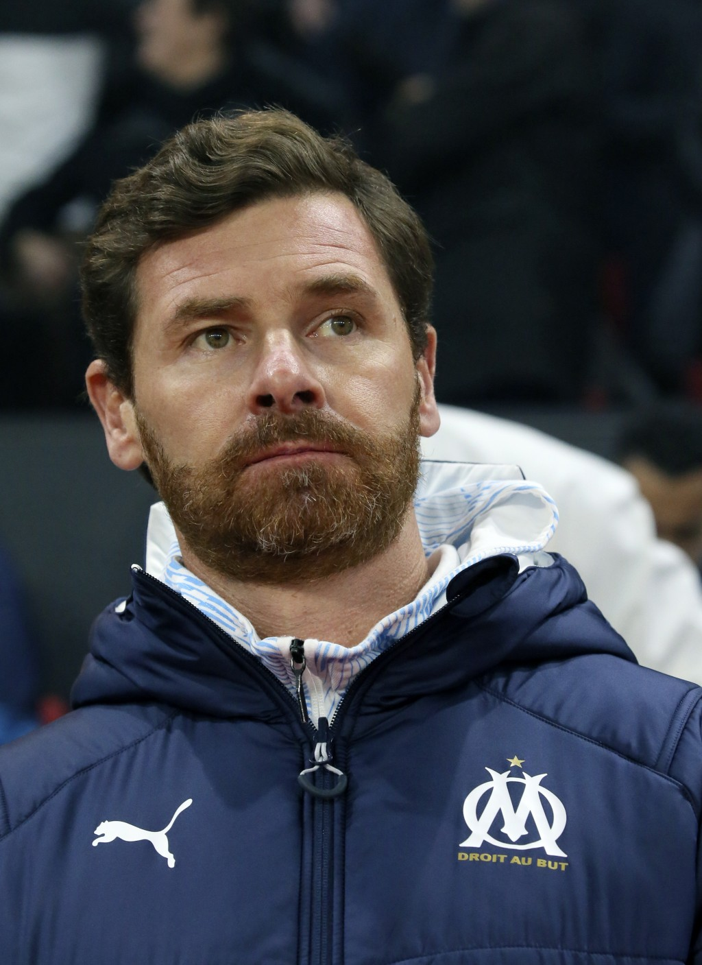 Marseille's head coach Andre Villas-Boas looks out before the League One soccer match between Rennes and Marseille, at the Roazhon Park stadium in Ren...
