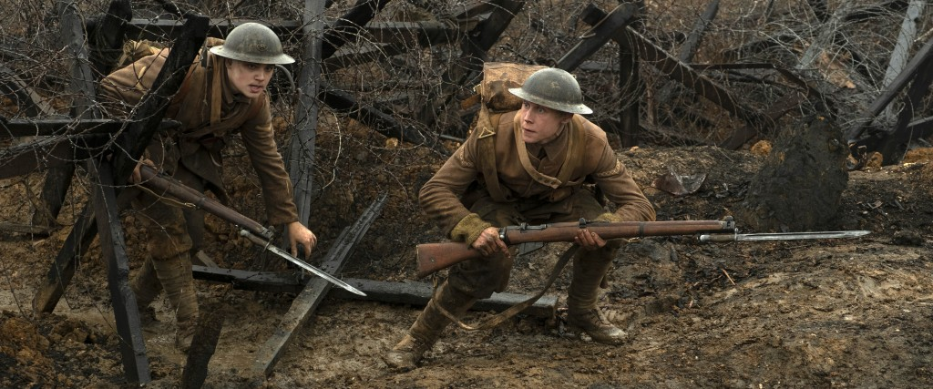 "This image released by Universal Pictures shows Dean-Charles Chapman, left, and George MacKay in a scene from ""1917,"" directed by Sam Mendes. Nominati..."