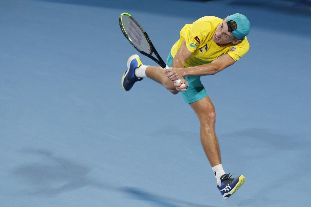 Alex de Minaur of Australia plays a shot against Rafael Nadal of Spain during their ATP Cup tennis match in Sydney, Saturday, Jan. 11, 2020. (AP Photo...