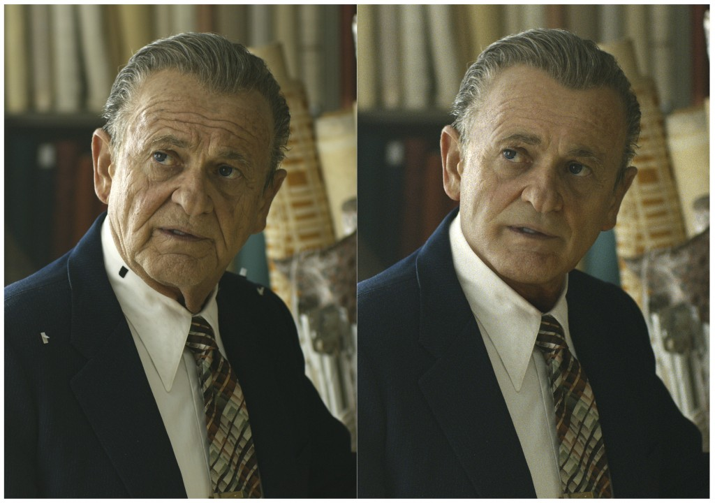 """This combination of photos shows actor Joe Pesci, left, during the filming of """"The Irishman"""" and the younger version of Pesci created by Pablo Helman,..."""