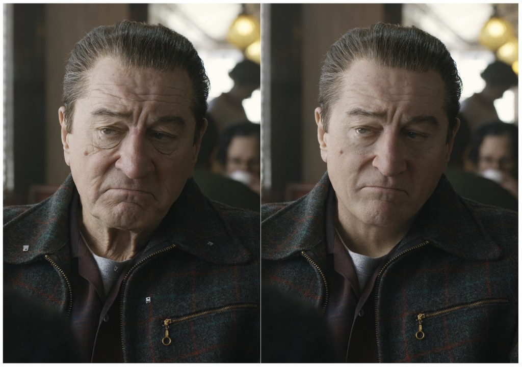 """This combination of photos shows actor Robert De Niro, left, during the filming of """"The Irishman"""" and the younger version of De Niro created by Pablo ..."""