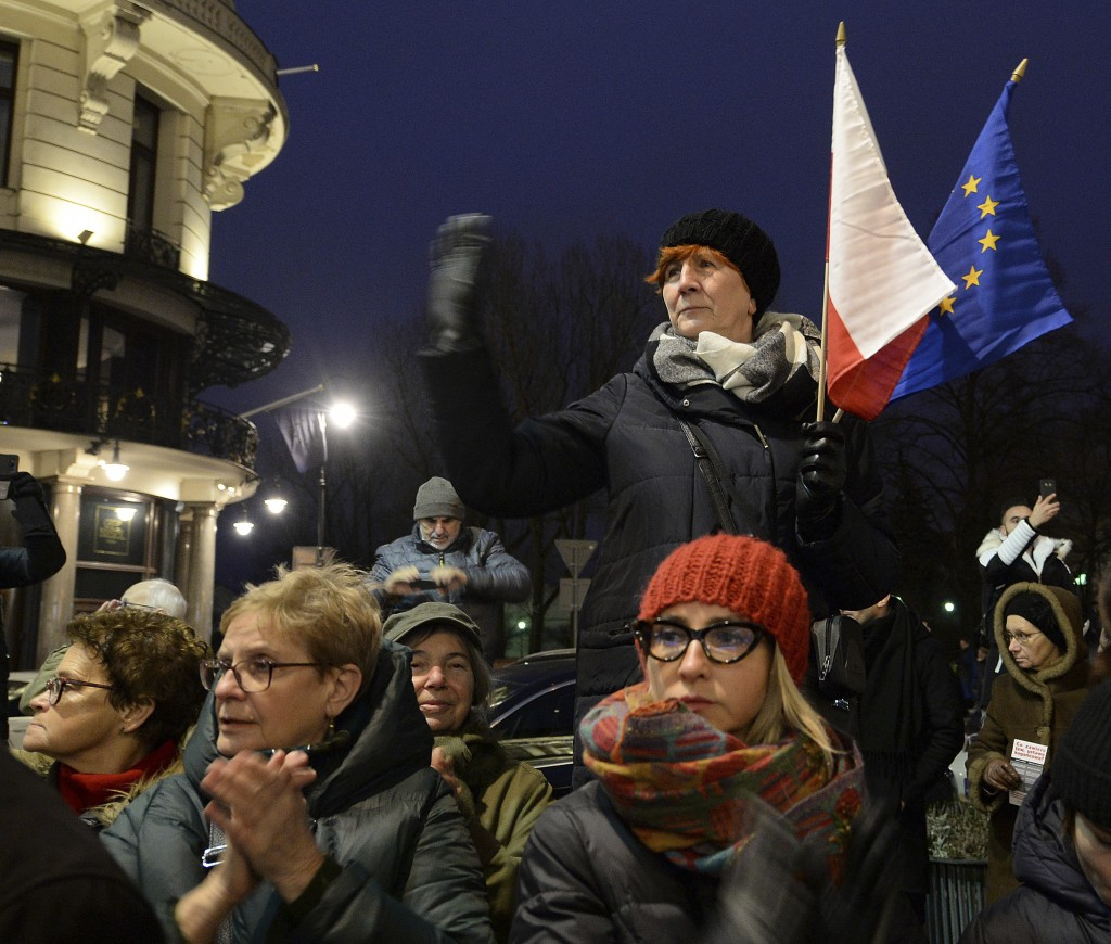 Demonstrators attend a protest by judges and lawyers from across Europe, many of them dressed in their judicial robes, in Warsaw, Poland, Saturday, Ja...