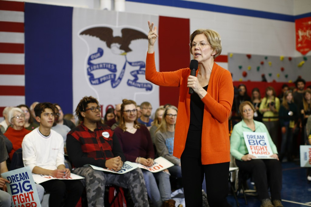 Democratic presidential candidate Sen. Elizabeth Warren, D-Mass., speaks during a campaign event, Sunday, Jan. 12, 2020, in Marshalltown, Iowa. (AP Ph...