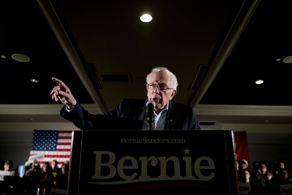 Democratic presidential candidate Sen. Bernie Sanders, I-Vt., speaks at a climate rally with the Sunrise Movement at The Graduate Hotel, Sunday, Jan. ...