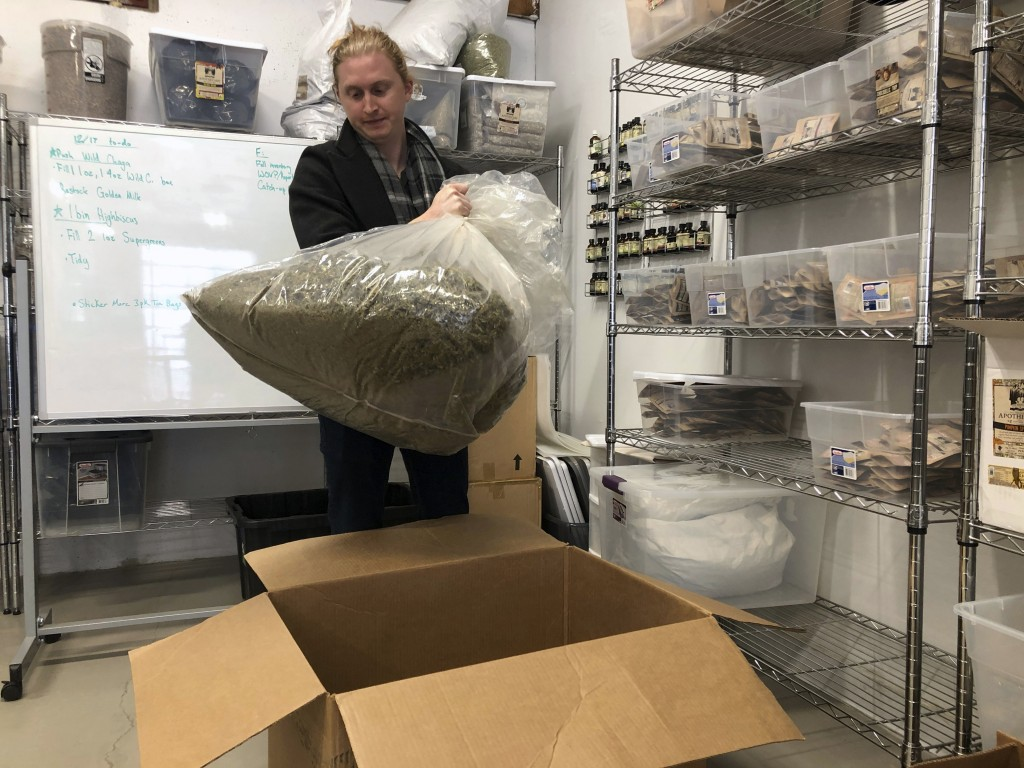 In this Dec. 17, 2019, photo, Jesse Richardson, co-founder of The Brothers Apothecary, which makes teas and capsules from hemp-derived CBD, inspects a...