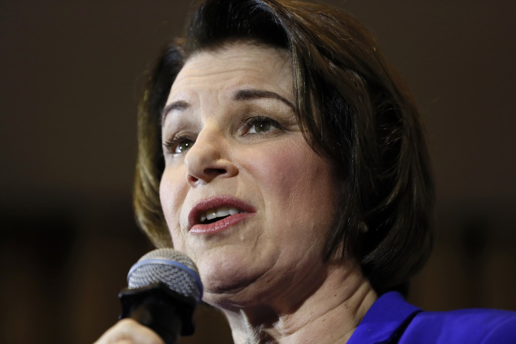 Democratic presidential candidate Sen. Amy Klobuchar, D-Minn., speaks during a town hall, Sunday, Jan. 12, 2020, in Perry, Iowa. (AP Photo/Charlie Nei...