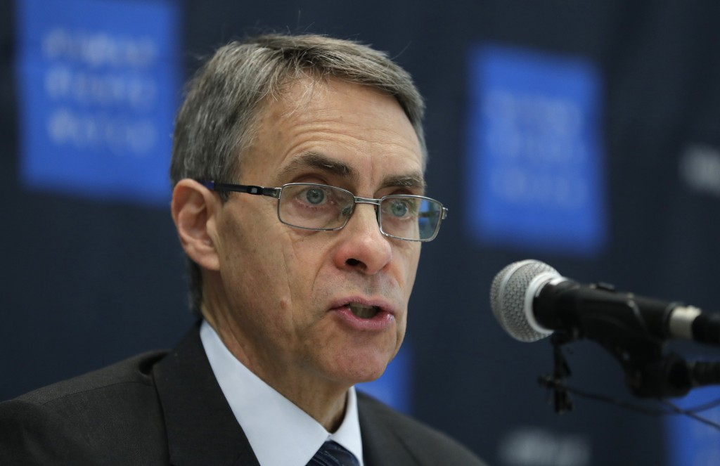 FILE - In this Thursday, Nov. 1, 2018 file photo, Kenneth Roth, Human Rights Watch's executive director, speaks during a news conference in Seoul, Sou...