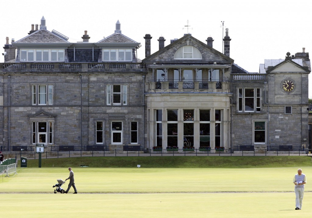 FILE - This July 7, 2010 file photo shows a view of the clubhouse at the end of the fairway on the first hole on the Old course at St Andrews golf cou...