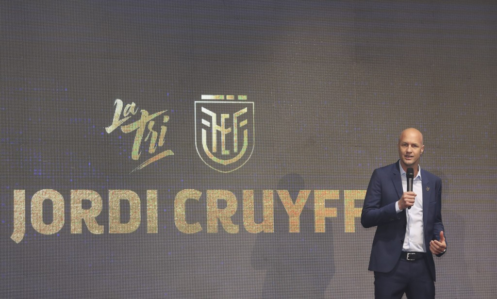 Jordi Cruyff speaks at an event where he is introduced as the new coach of Ecuador's national soccer team in Quito, Ecuador, Monday, Jan. 13, 2020. Cr...