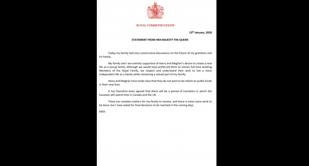 This is a handout photo issued on Monday, Jan. 13, 2020 by Buckingham Palace of a statement by Britain's Queen Elizabeth II on the future of Prince Ha...