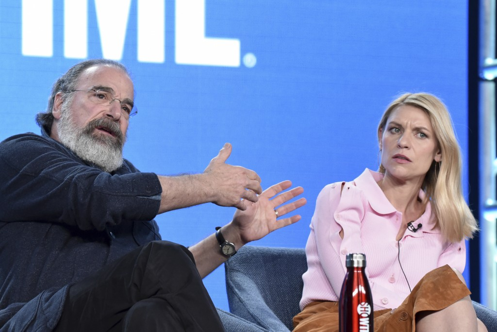 """Mandy Patinkin, left, and Claire Danes participate in the Showtime """"Homeland,"""" panel during the Winter 2020 Television Critics Association Press Tour ..."""