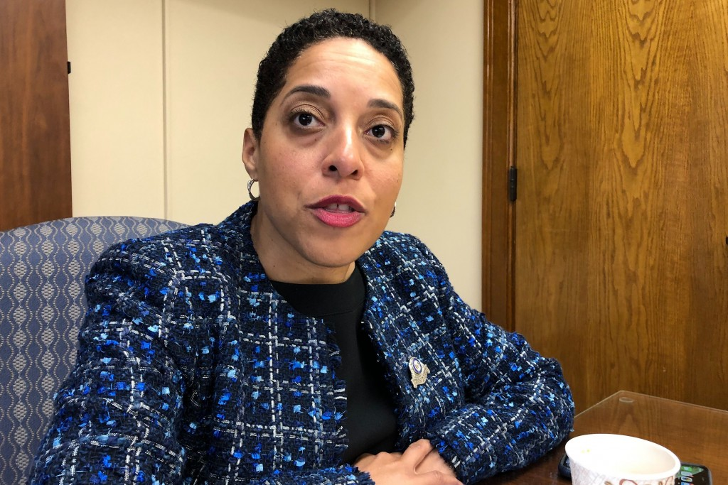 St. Louis Circuit Attorney Kim Gardner speaks Monday, Jan. 13, 2020, in St. Louis. Gardner on Monday filed what she called an unprecedented federal ci...