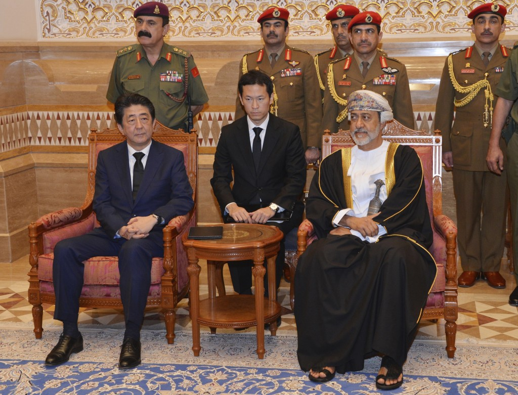 In this photo made available by Oman News Agency, Oman's Sultan Haitham bin Tariq Al Said, right, receives Japan's prime minister Shinzo Abe after his...