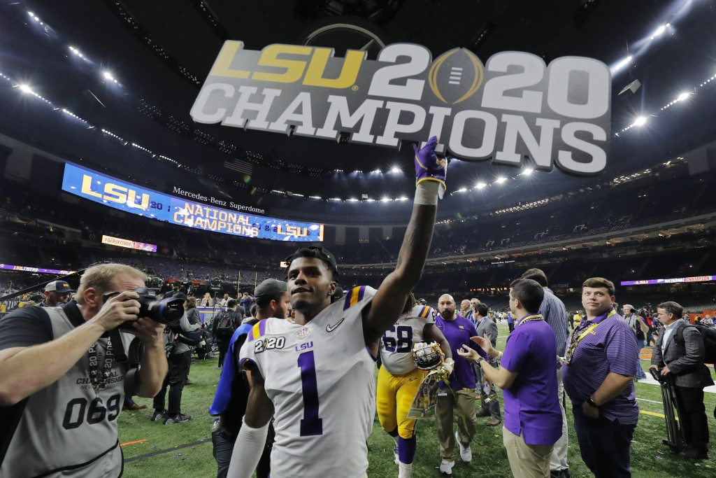 LSU cornerback Kristian Fulton leaves the field after a NCAA College Football Playoff national championship game against Clemson, Monday, Jan. 13, 202...
