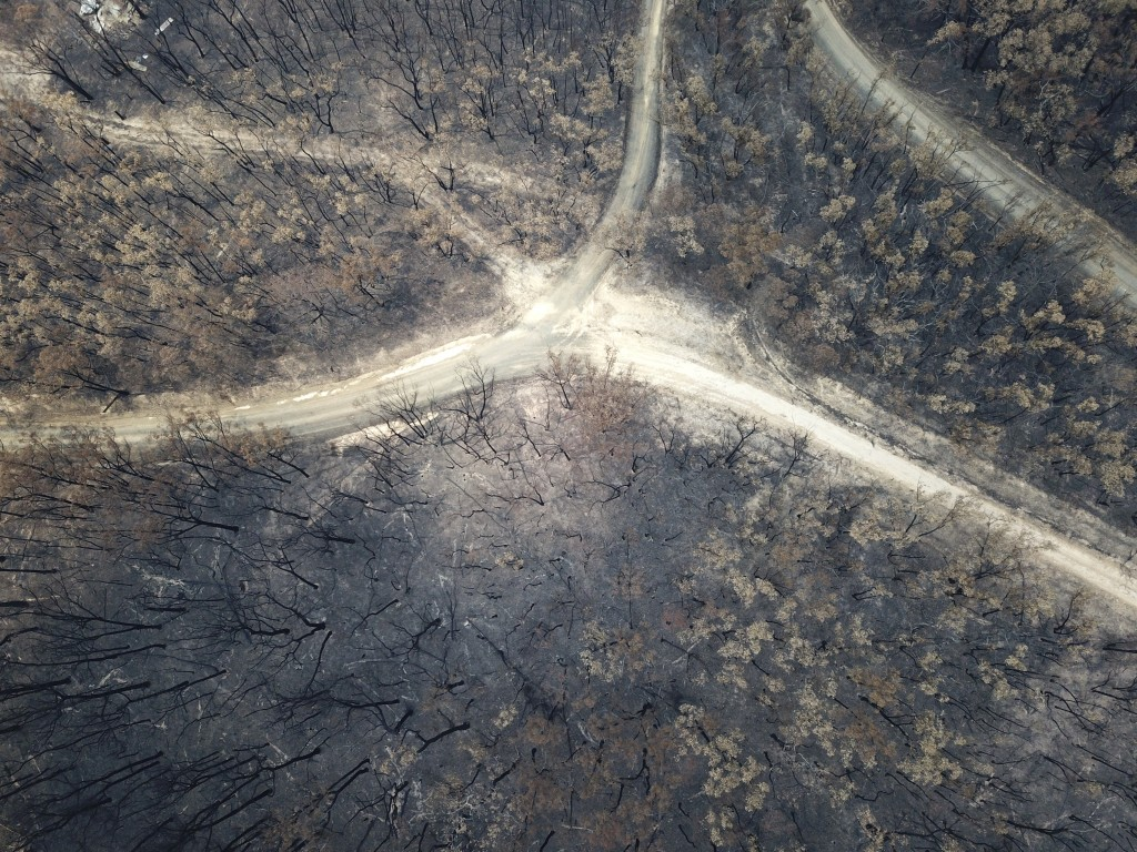 Bushlands at Nerrigundah, Australia, Monday, Jan. 13, 2020, are severely burned after a wildfire ripped through the town on New Year's Eve. The tiny v...