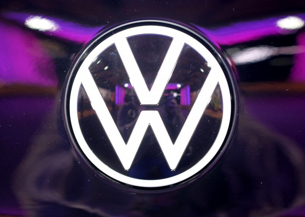 File---Picture taken on Nov.4, 2019 shows the VW logo on a car at a VW factory opening ceremony for electric cars in Zwickau,  Germany. (Sebastian Wil...