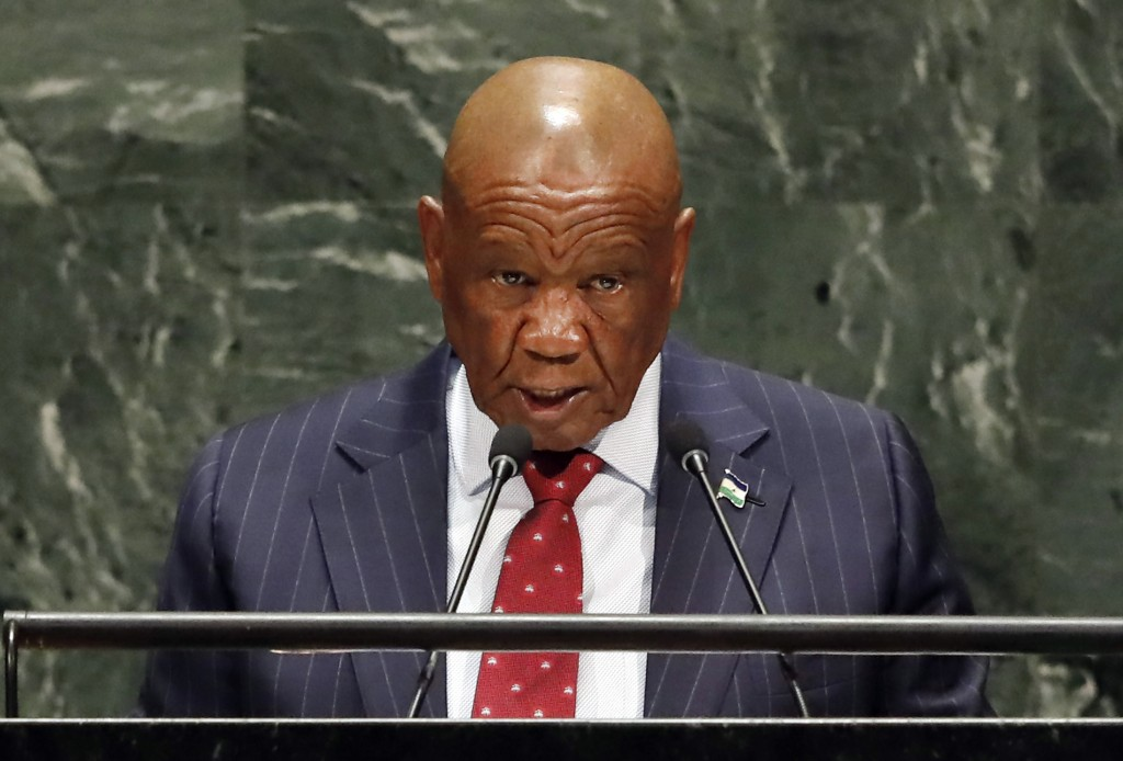 FILE — In this Friday, Sept. 27, 2019, file photo Lesotho's Prime Minister Thomas Motsoahae Thabane addresses the 74th session of the United Nations G...