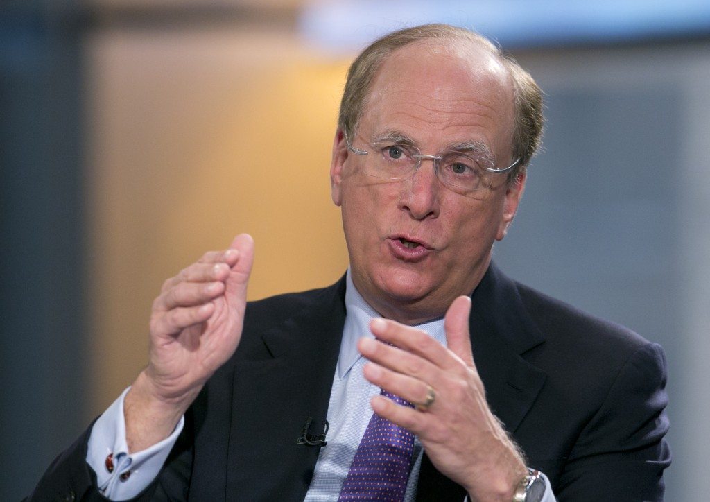 "FILE - In this March 26, 2014 file photo, BlackRock Chairman and CEO Laurence Fink is interviewed by Maria Bartiromo on Fox Business Network's ""Openin..."