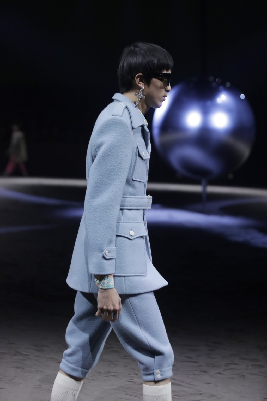A model wears a creation as part of the Gucci men's Fall-Winter 2020/21 collection, that was presented in Milan, Italy, Tuesday, Jan. 14, 2020. (AP Ph...