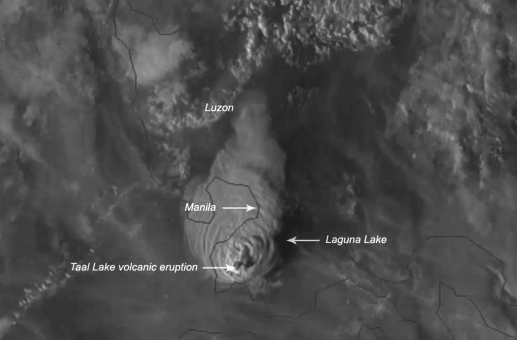 This Jan. 12, 2020, image made available by Himawari-8 satellite via the National Oceanic and Atmospheric Administration (NOAA), shows the eruption of...
