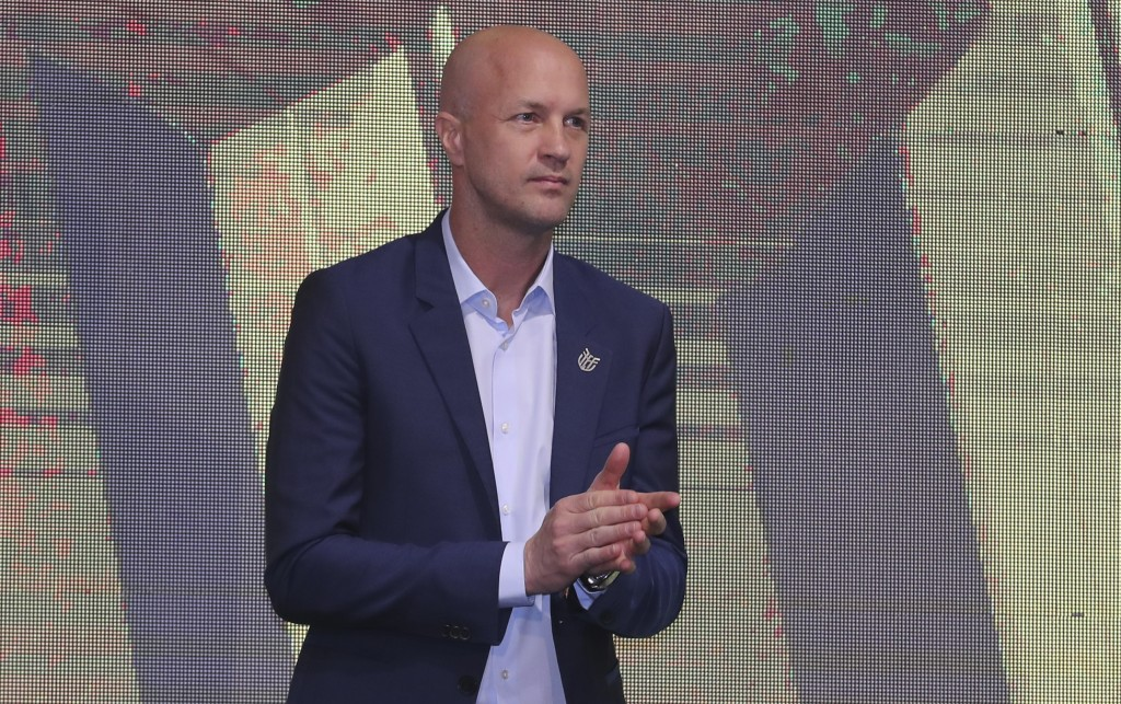 Jordi Cruyff attends an event where he is introduced as the new coach of Ecuador's national soccer team in Quito, Ecuador, Monday, Jan. 13, 2020. Cruy...