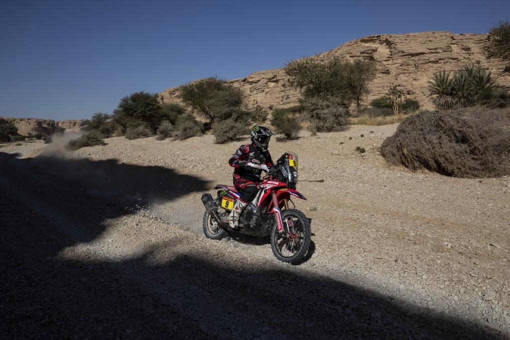 Ricky Brabec of United States rides his Honda motorbike during stage nine of the Dakar Rally between Wadi Al Dawasir and Haradth, Saudi Arabia, Tuesda...