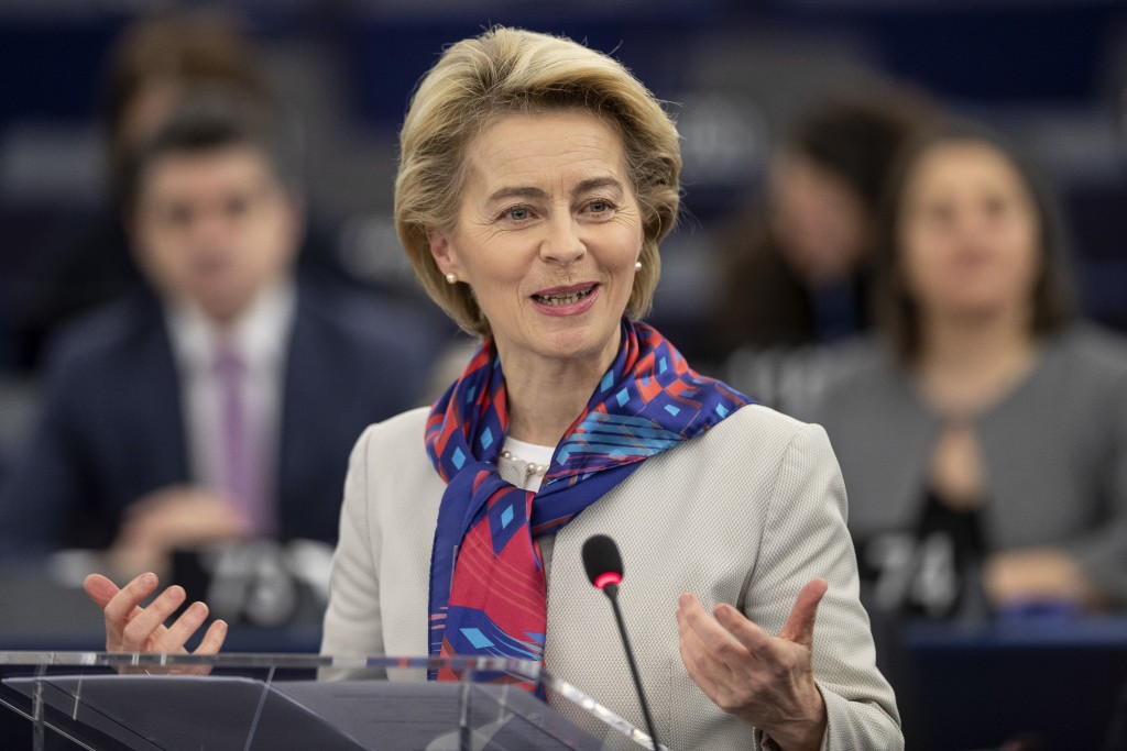European Commission President Ursula von der Leyen delivers her speech at the European parliament Tuesday, Jan.14, 2020 in Strasbourg, eastern France....