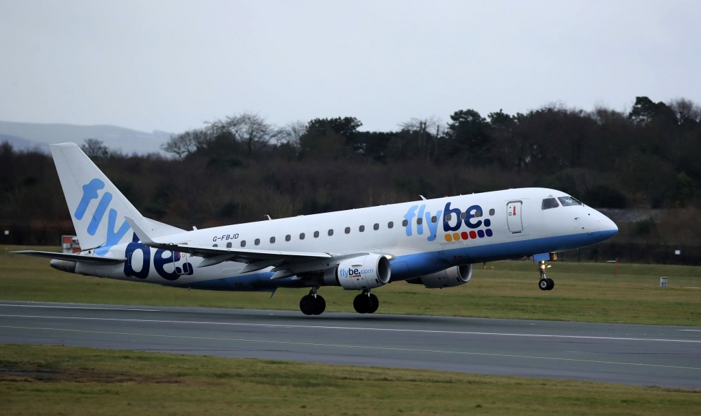 A Flybe flight departs from Manchester Airport, England, Monday Jan. 13, 2020. Britain's leaders are considering whether to support a rescue deal for ...