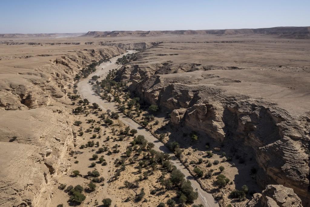 A motorbike races during stage nine of the Dakar Rally between Wadi Al Dawasir and Haradth, Saudi Arabia, Tuesday, Jan. 14, 2020. (AP Photo/Bernat Arm...