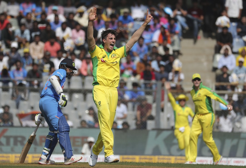 Australia's Pat Cummins appeals unsuccessfully for an LBW decision during the first one-day international cricket match between India and Australia in...