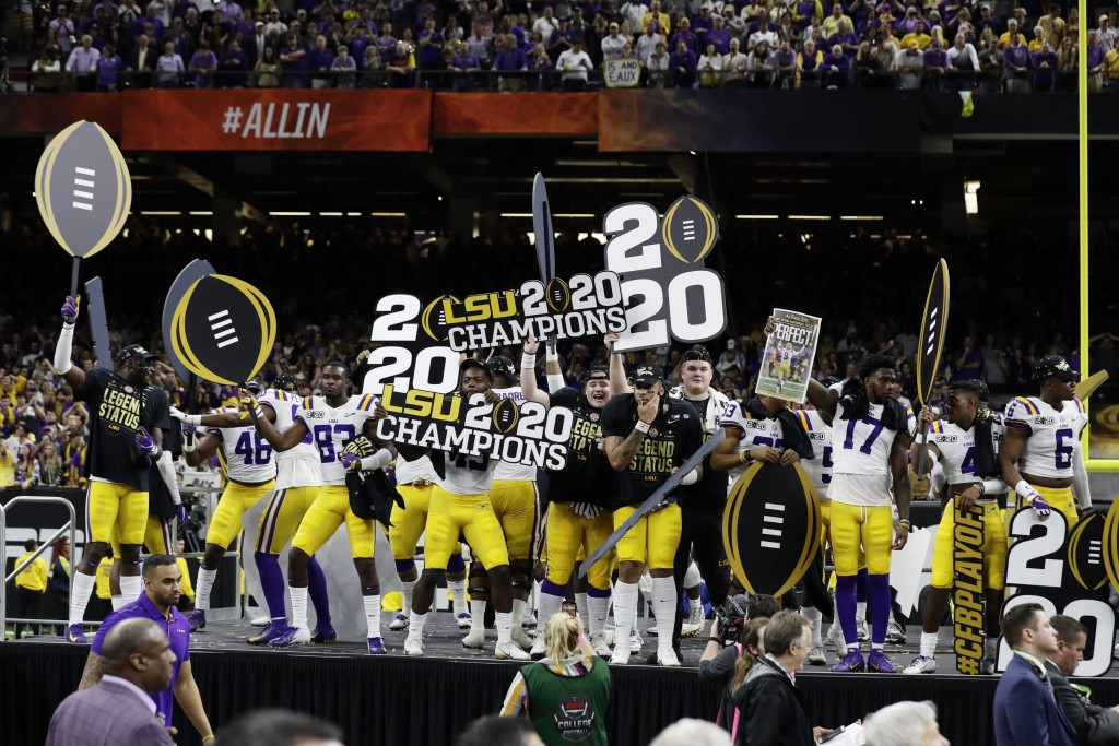 LSU celebrates after winning a NCAA College Football Playoff national championship game against Clemson, Monday, Jan. 13, 2020, in New Orleans. LSU wo...