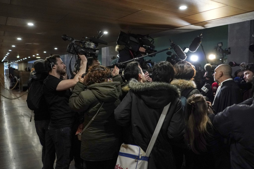 Frederic Doyez, the lawyer of French priest Bernard Preynat, speaks to the media at the Lyon court house, central France, Tuesday Jan. 14, 2020. The f...