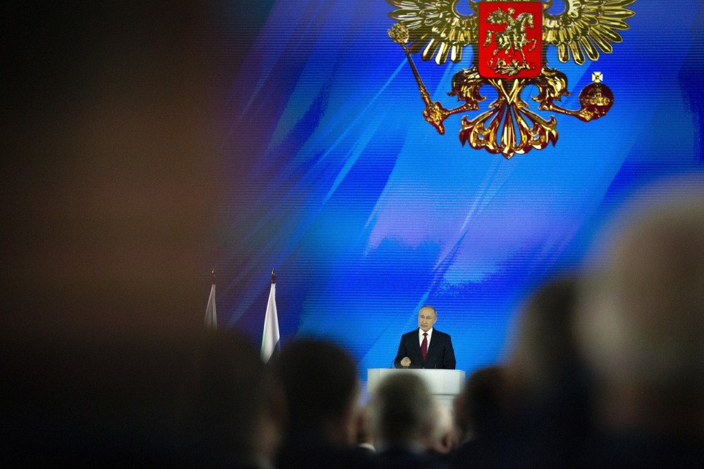 Russian President Vladimir Putin addresses the State Council in Moscow, Russia, Wednesday, Jan. 15, 2020.  Putin proposed changing the Russian Constit...