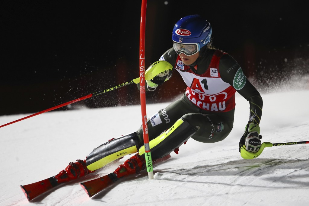United States' Mikaela Shiffrin competes during an alpine ski, women's World Cup slalom in Flachau, Austria, Tuesday, Jan. 14, 2020. (AP Photo/Marco T...