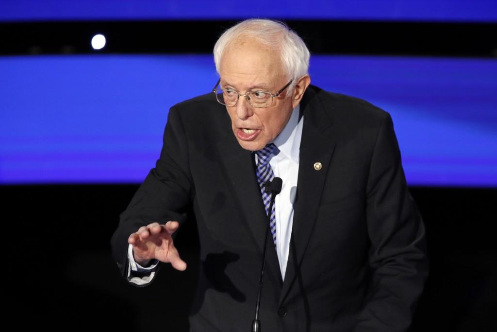 Democratic presidential candidate Sen. Bernie Sanders, I-Vt., speaks Tuesday, Jan. 14, 2020, during a Democratic presidential primary debate hosted by...