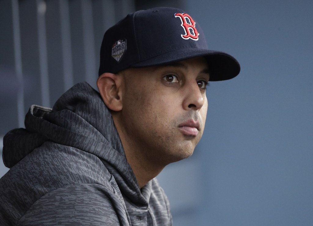 FILE - In this Oct. 28, 2018, file photo, Boston Red Sox manager Alex Cora waits for the start of Game 5 of the baseball World Series between the Red ...