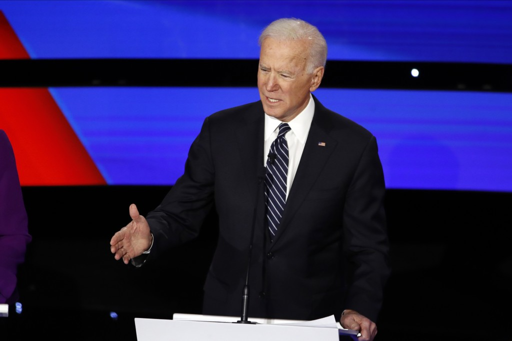 Democratic presidential candidate former Vice President Joe Biden speaks Tuesday, Jan. 14, 2020, during a Democratic presidential primary debate hoste...